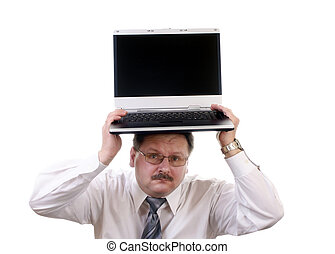 homem negócios,  laptop