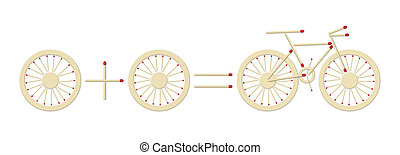 bicycle equation - simple equation with bicycle assembled of...