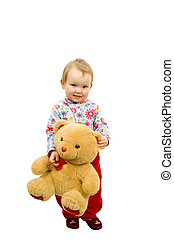 Baby with bear - Baby girl with toy bear isolated on white...