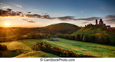 Corfe Castle sunrise panoramic - Beautiful sunrise panoramic...