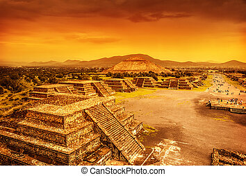 Pyramids of Mexico over sunset - Pyramids of the Sun and...