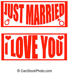 Just married - Set of stamps with text just married and i...
