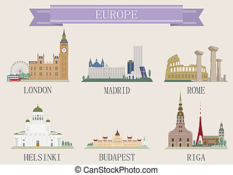City symbol. Europe. Vector set for you design