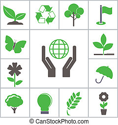 Green icons Vector set for you design