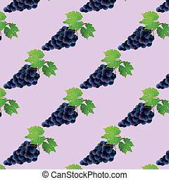 Background seamless pattern with black grape, vector...