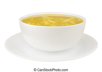 Noodle Soup on White Background