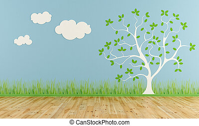Empty child room with stylized tree and clouds on the wall -...