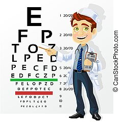 Cute men doctor - optometrist points to the table for...
