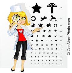 Cute woman doctor - ophthalmologist shows childrens table...