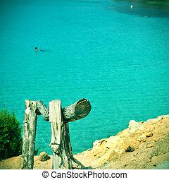 Cala Saona Beach in Formentera, Balearic Islands, Spain -...