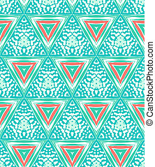 Geometric pattern with triangles and random dots - 1930s Art...