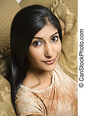 Attractive young woman - Close up portrait of AsianIndian...