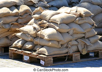 Sandbags as protection - Sandbags to protect from flooding...