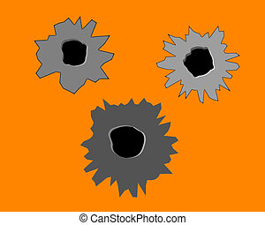 three bullet holes in the wall on an orange background