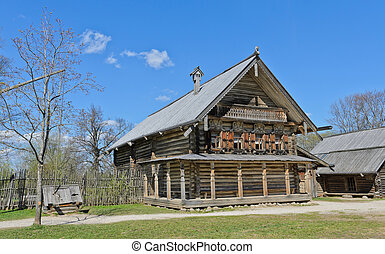 Russian izba log hut in Vitoslavlitsy Museum of Wooden...