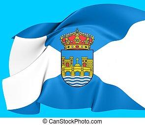 Flag of Pontevedra, Spain Close Up