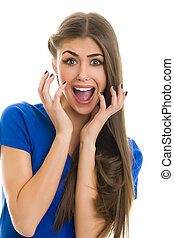 Shock! - Portrait of a beautiful young woman with a shocked...