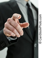 Businessman pointing finger at you - Closeup of businessman...