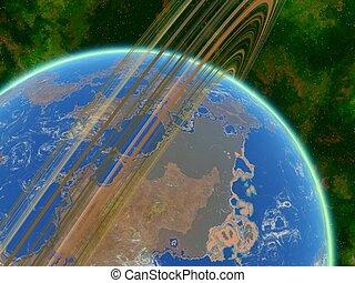 Alien Planet Arkology From Space - Earthlike planet...