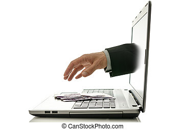 Internet fraud - Hand reaching out of laptop screen to steal...