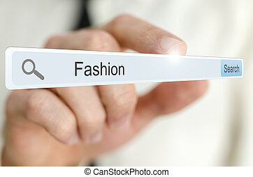 Word Fashion written in search bar on virtual screen