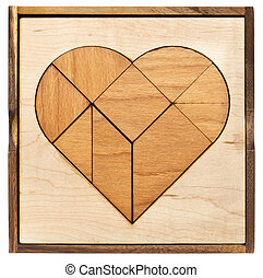 heart tangram - heart version of tangram, a traditional...