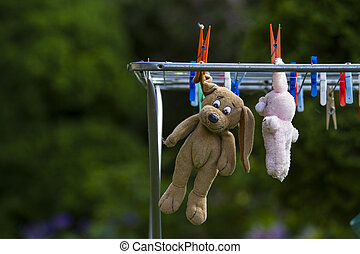 teddy bear hanging on a Clothesline