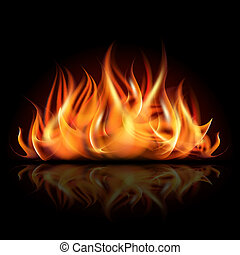 Fire on dark background. Vector illustration