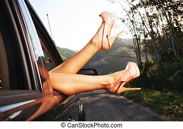 view on nice woman's legs stretchin
