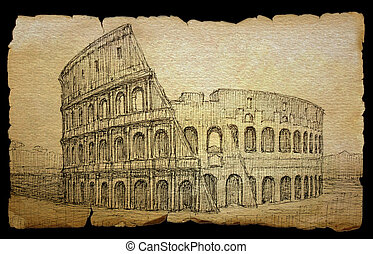 Colosseum painted by ink on old paper, isolated on black