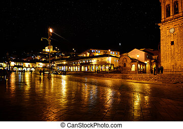 Cusco at night - Peru Cusco at night Plaza de Armas