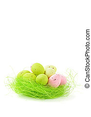 decorative easter nest with eggs