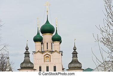 Rostov Kremlin - Domes of Rostov Kremlin in Rostov Velikiy,...
