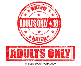 Adults only-stamps - Set of grunge rubber stamps with text...