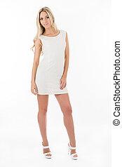 blonde in white short dress
