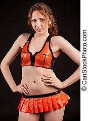 girl in orange latex suit - Attractive girl in orange latex...