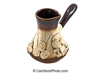 Clay coffeepot isolated on the white background