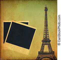 Vintage image of Eiffel tower and blank photo frames