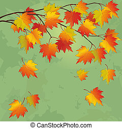 Vintage autumn background with branch of tree