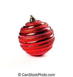 Christmas red ball isolated on the white