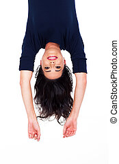 pretty woman upside down - pretty young woman upside down...