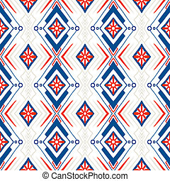 Geometric pattern with Scandinavian ethnic motifs - Ethnic...