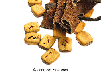 Runes in leather sack - Wooden old runes runes in rough...