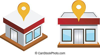 houses with map pin - Vector illustration of houses with map...