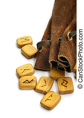 Runes in leather sack - Wooden old runes in rough leather...