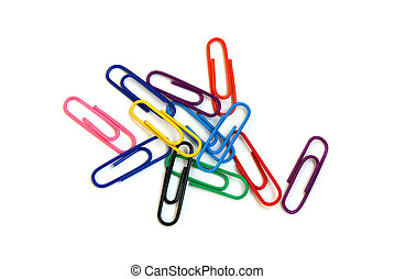 Paper clips - Multi-coloured paper clips on a white...