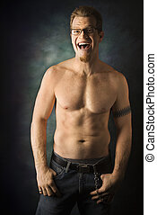 Bare chested man. - Portrait of shirtless adult Caucasian...