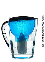Water filter - Blue wet water filter isolated on white