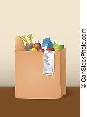 papel, bolsa, comestibles
