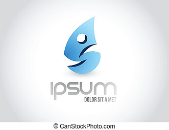 fitness water drop logo symbol illustration design over...